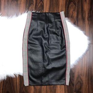 Zara Faux Leather Plaid Side Panel Pencil Skirt